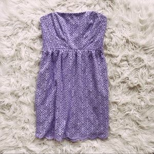 • Shoshanna • Strapless Lace Dress Purple 0